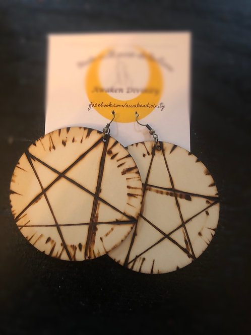 Wood burned Star Earrings