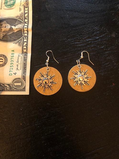 Silver on gold sun disc earrings 🌞