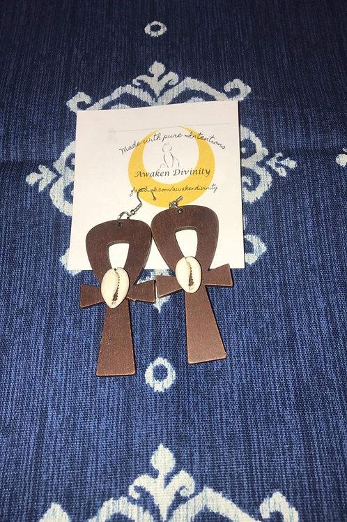 Wooden Ankh  earrings
