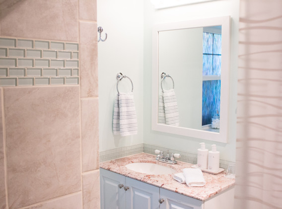 The bathroom features a large shower, sink, and touchless toilet.