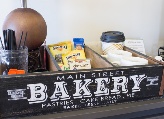 Treats and hot beverages available 24/7 in the upstairs foyer right outside your room.