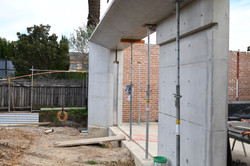 off form concrete wall and beam
