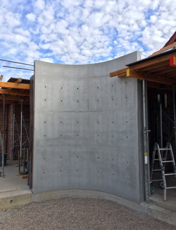 curved off form concrete wall