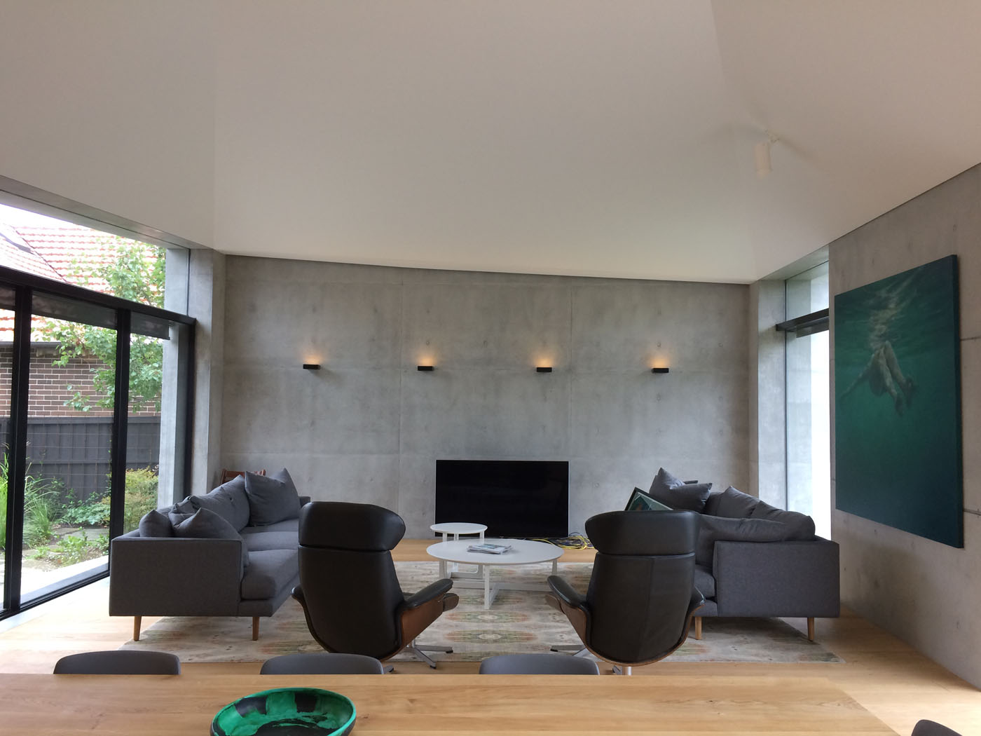 interior view off form concrete wall