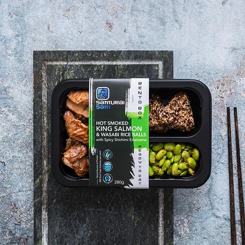 Hot Smoked King Salmon & Wasabi Rice Balls with Spicy Shichimi Edamame