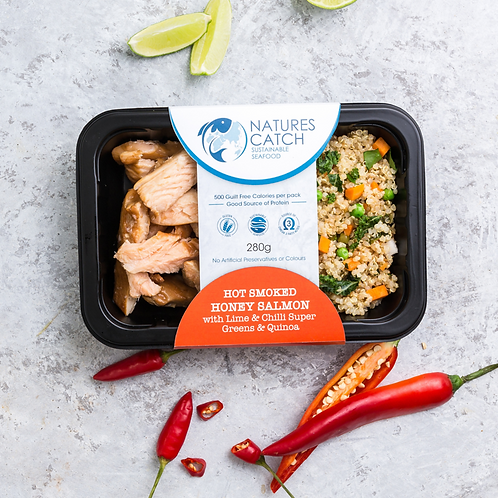Hot Smoked Honey Salmon with Lime & Chilli Super Greens & Quinoa