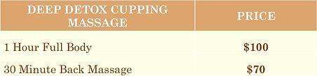Deep Detox Cupping Massage Pricelist
