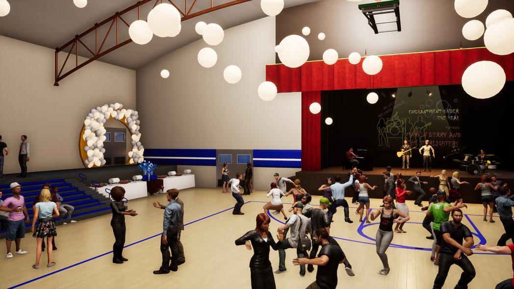 Int. High School Gymnasium Prom Scene