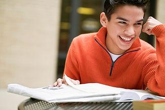 high school boy studying, SAT test prep
