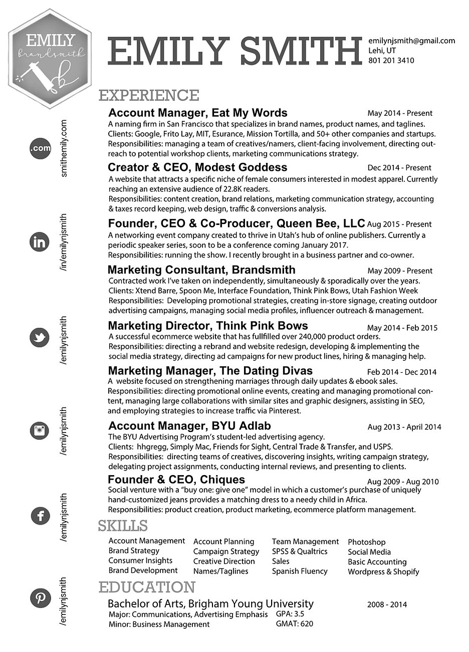 resume contact