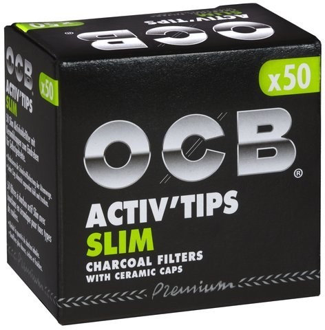 OCB Activ`Tips SLIM Aktivkohle Filter mit Keramik-Kappen 0,7mm