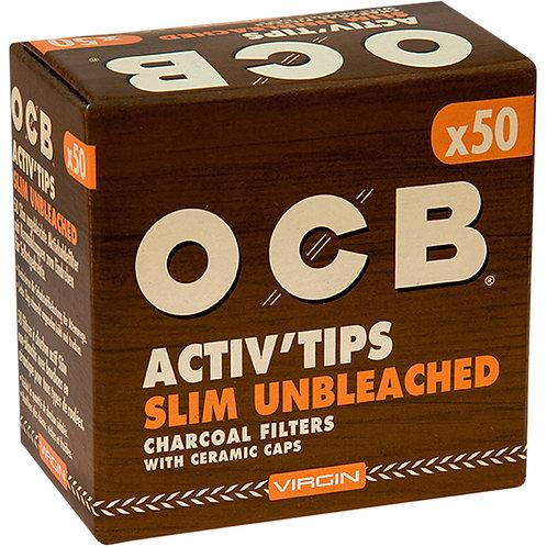 OCB Brown Activ Tips unbleached 7mm 50/Einzelpackung