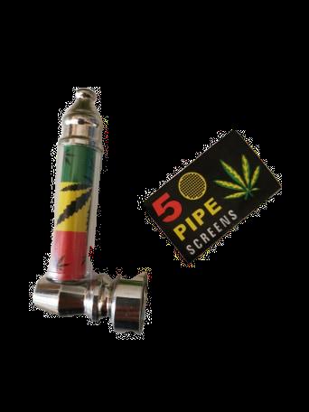 Mini-Pfeife Jamaika 7cm + 5 Siebe