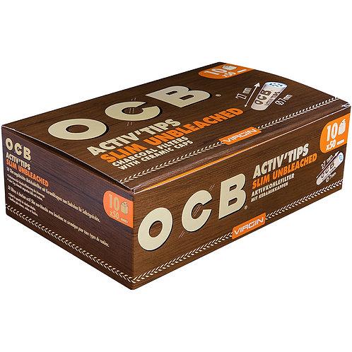 OCB Brown Activ Tips Slim unbleached Filter 7mm 10/50