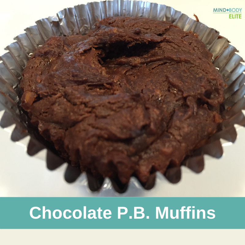 4 ingredient chocolate peanut butter muffins