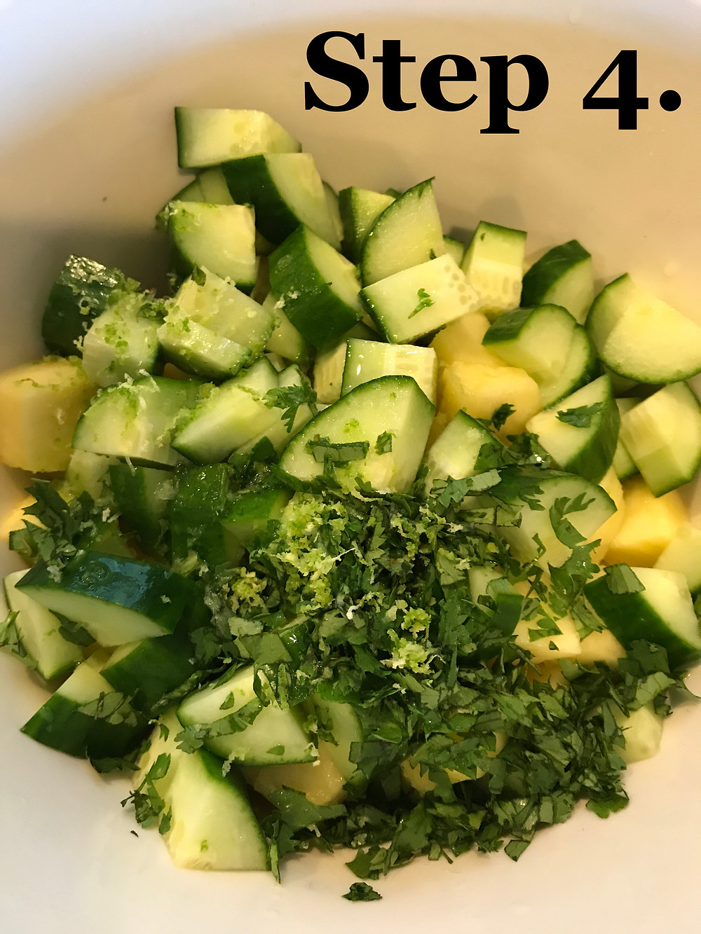 Add zest of lime and juice to cucumber and pineapple