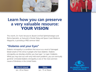 """Diabetes and Your Eyes"" Lecture by Dr. Venzara throughout the month of January!"