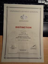 Registry of Guitar Tutors (RGT) exam result - Distinction - Presented for exam by Christian Everett, Guitar tutor