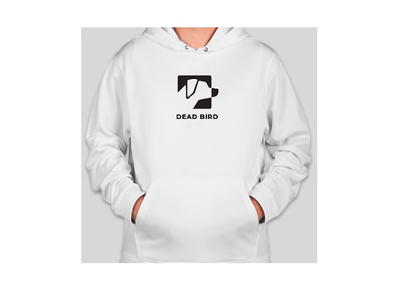 Ultra soft polyester fleece lined white Dead Bird duck calls center logo hoodie