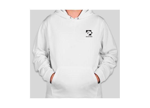Ultra soft polyester fleece lined white Dead Bird duck calls left chest logo hoodie