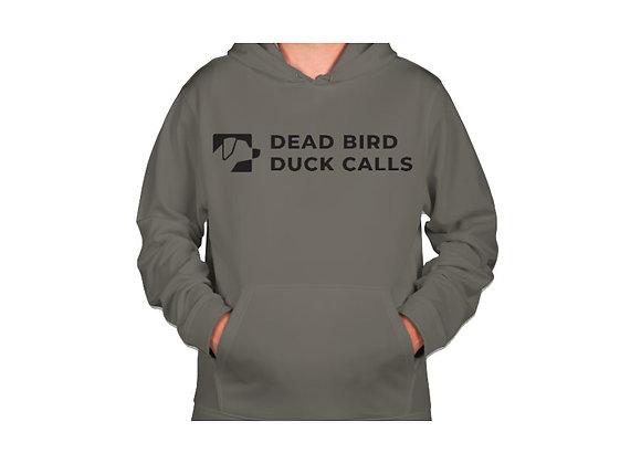Ultra soft polyester fleece lined grey Dead Bird duck calls logo hoodie