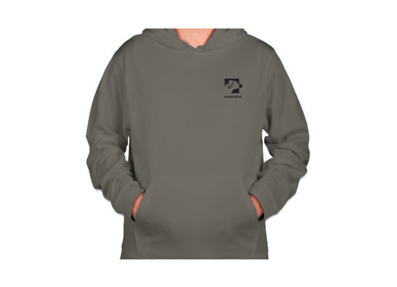 Ultra soft polyester fleece lined grey Dead Bird duck calls left chest logo hoodie