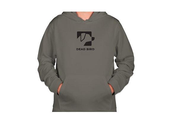 Ultra soft polyester fleece lined grey Dead Bird duck calls center logo hoodie