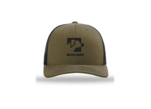 Dead Bird Duck Calls Logo Snapback Trucker Hat Olive Green Mesh Black