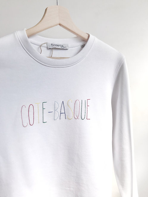 "Sweat-shirt ""COTE-BASQUE"" brodé à la main"