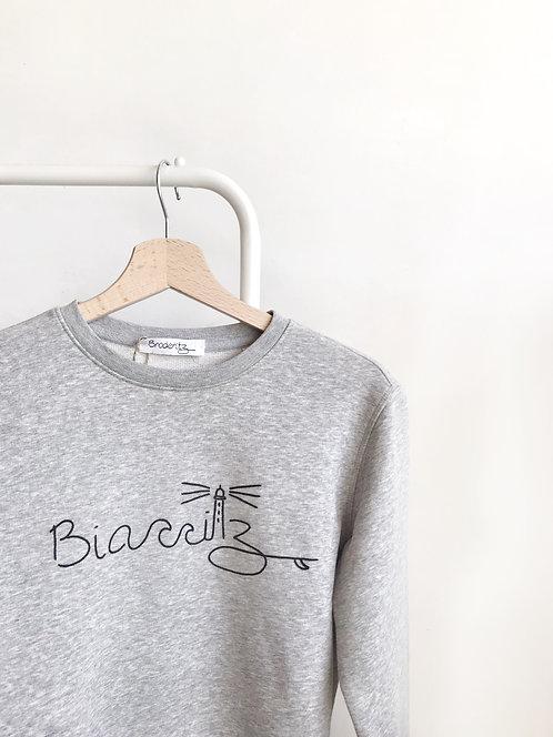 "Sweat-shirt gris ""Biarritz"" brodé à la main"