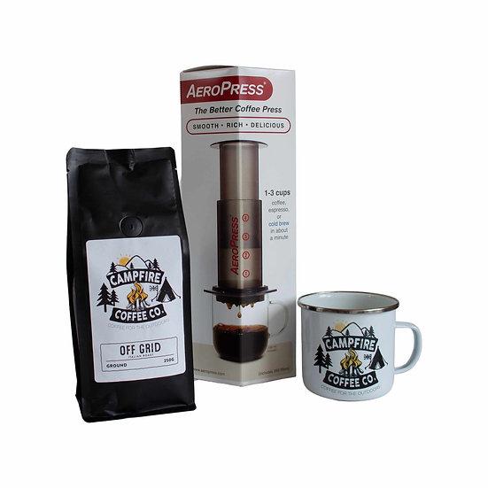 AEROPRESS, GROUND COFFEE - OFF GRID & ENAMEL MUG