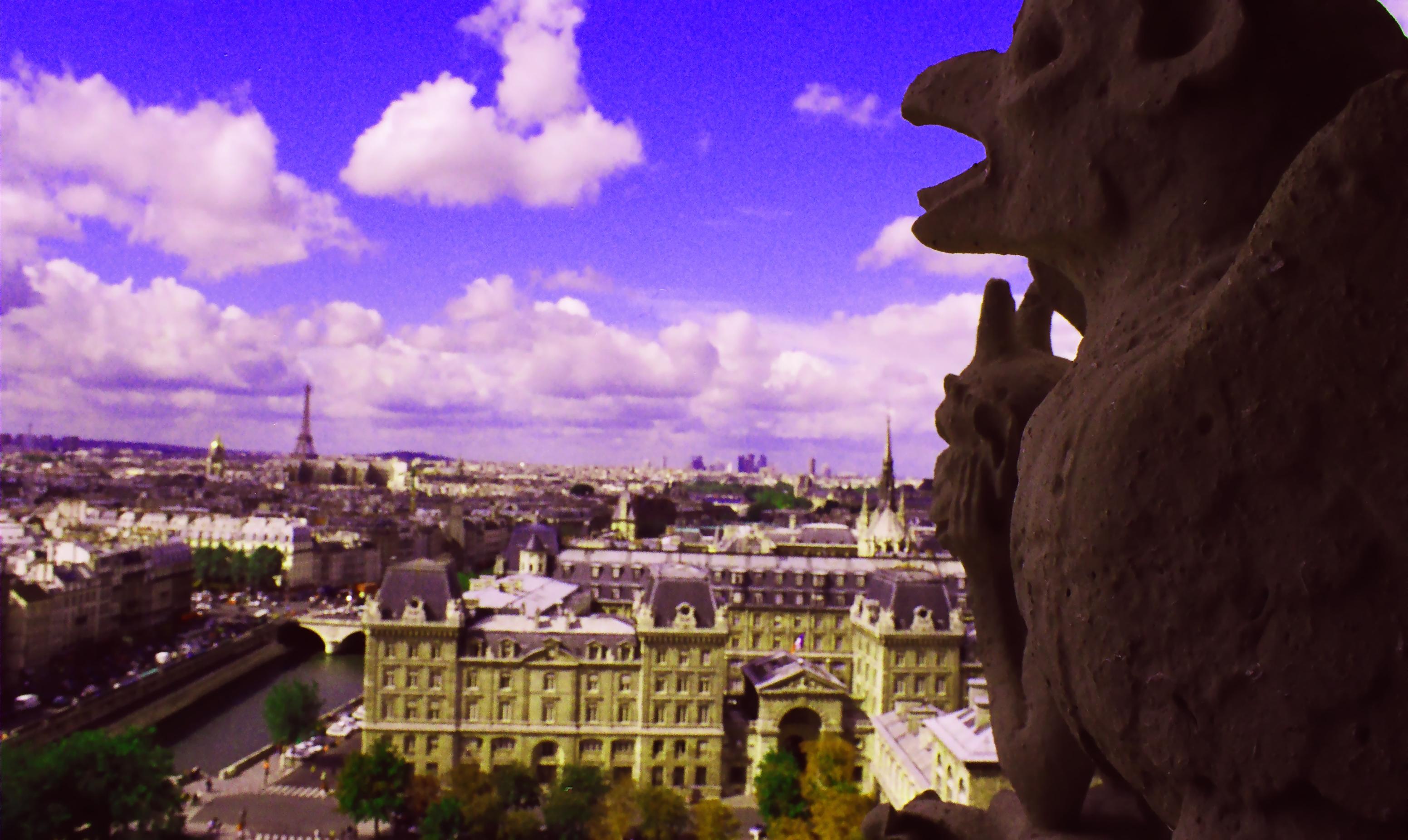 82-Paris-Eiffel Tower and gargoyles GS