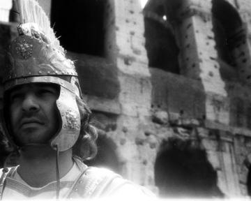 Rome-Colusseum in Sepia with Gladiator
