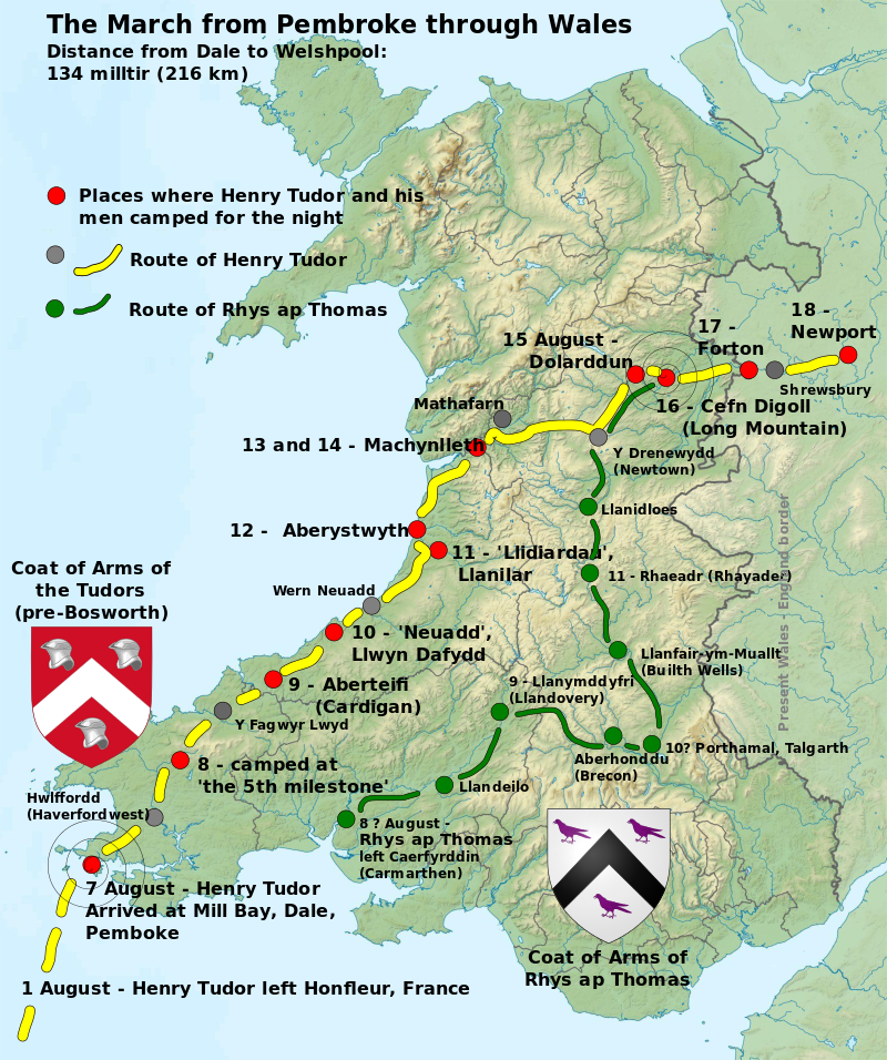 Henry VII track through Wales and England