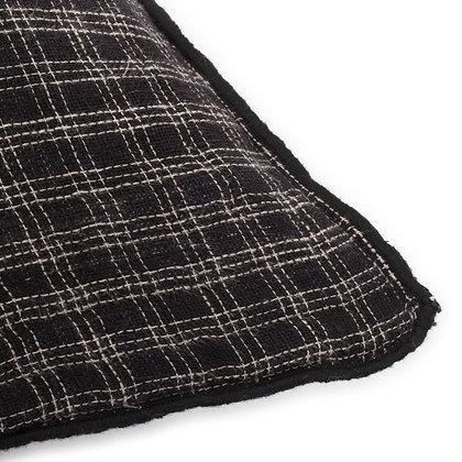 Coussin à carreaux noir 40x60cm