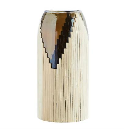 Vase en verre teinté et fibre naturelle