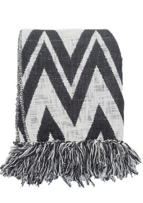 Plaid en coton rayure noire et blanc