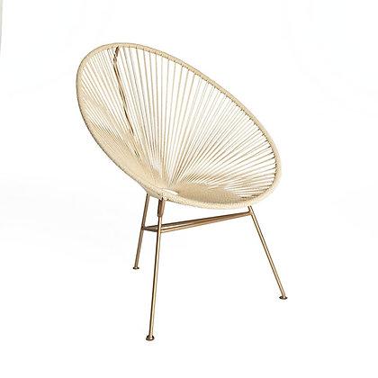 Chaise fer laiton et corde coton naturel