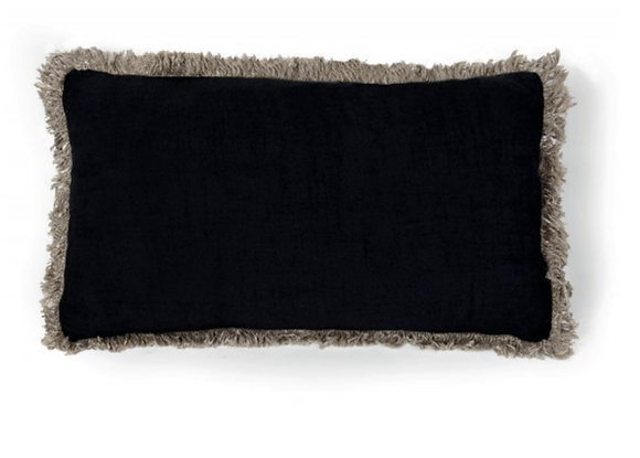 Housse de coussin noir avec franges 40x60cm
