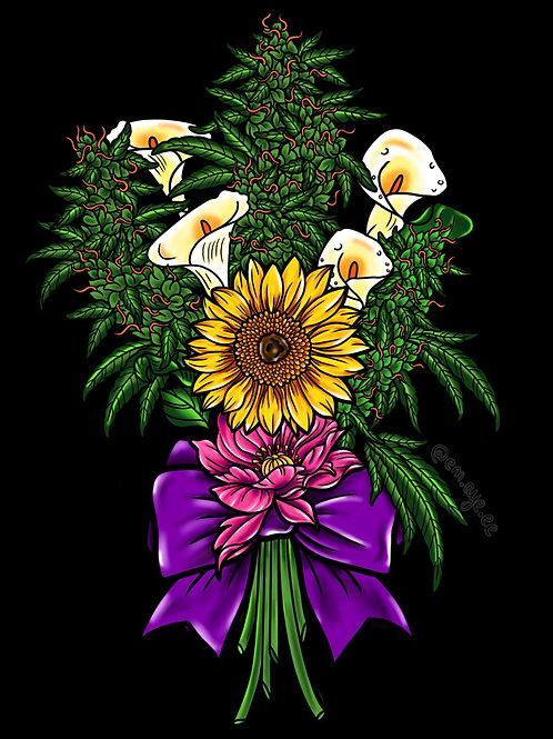 White bouquet print