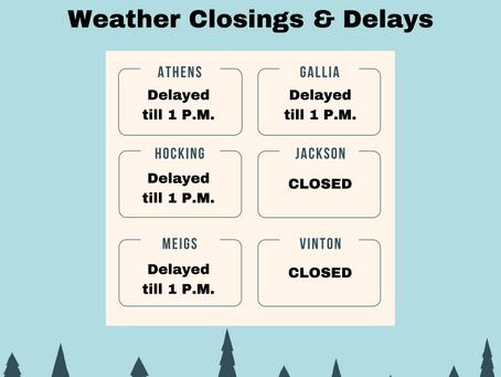 Weather Closings & Delays - 2/15/2021