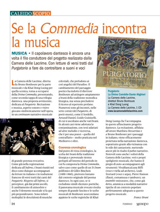 Coup de coeur de février pour Purgatorio dans la revue italienne MediEvo