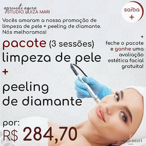 PACOTE 3 SESSÕES: LIMPEZA DE PELE + PEELING DE DIAMANTE