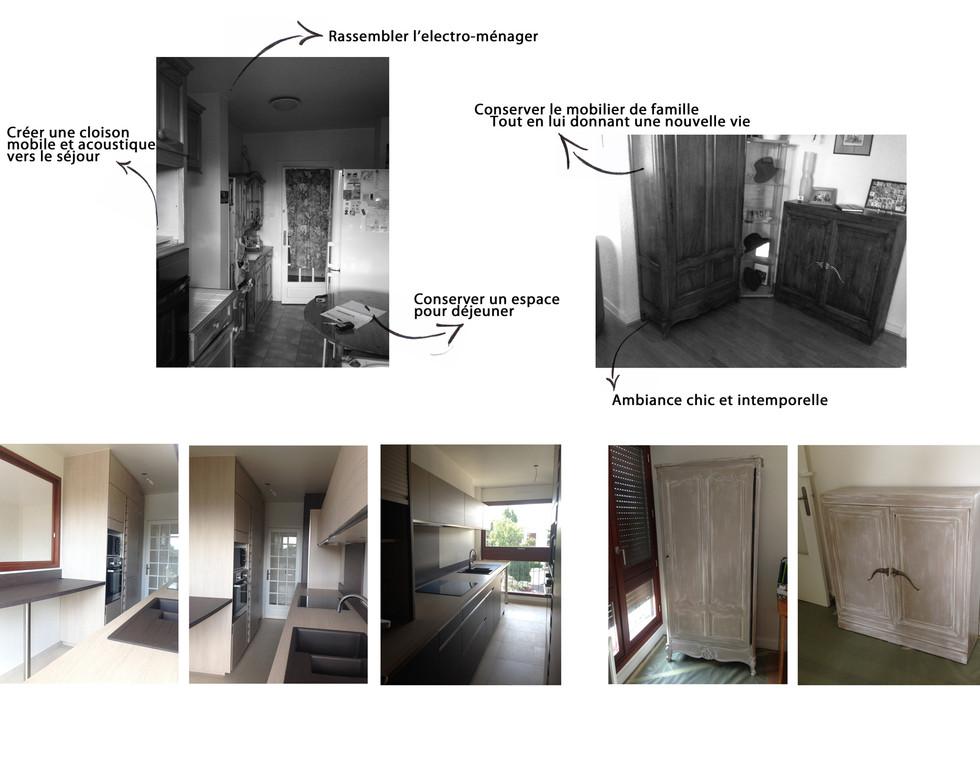 Avant Après - Appartement - Cuisine et mobilier patiné