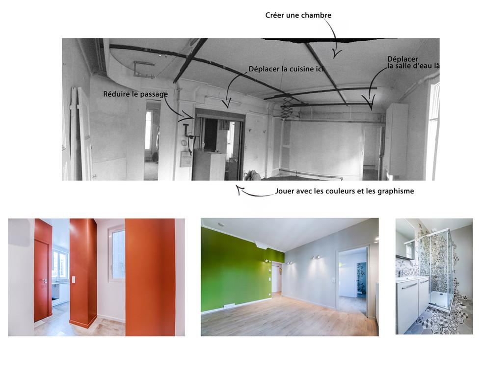 Avant Après - Appartement - Entrée, Séjour et Salle d'eau