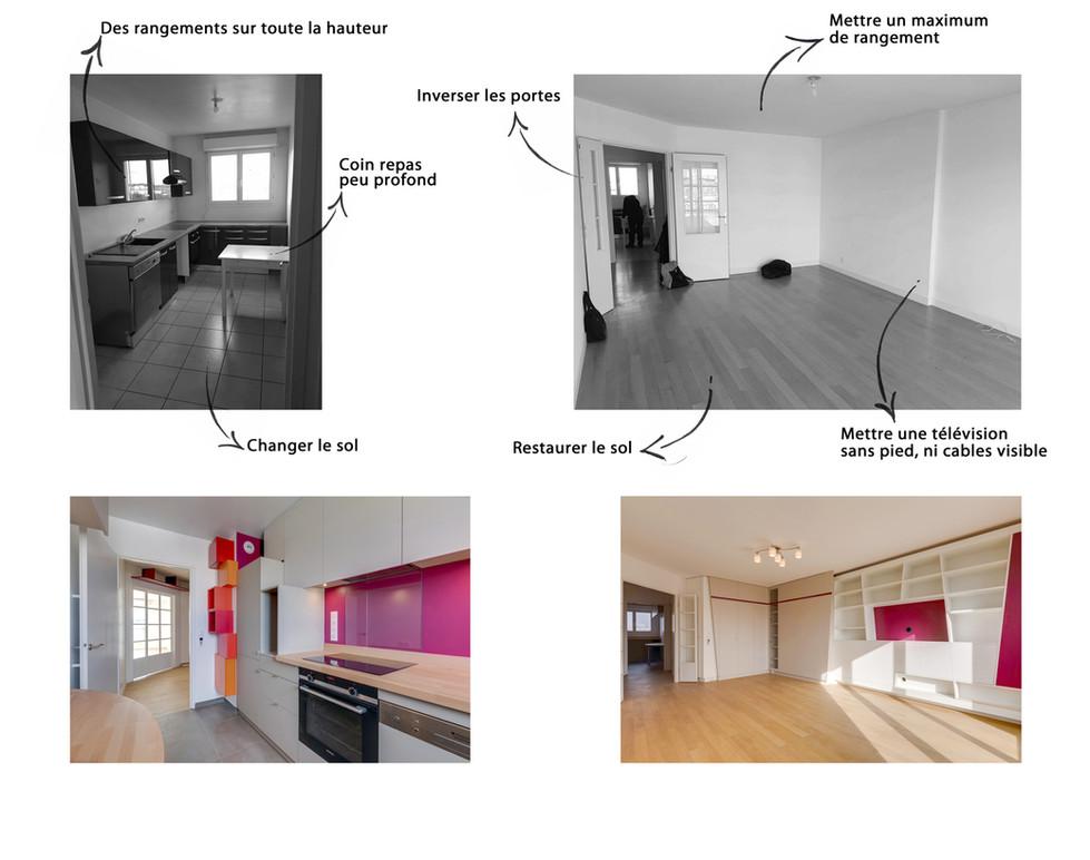 Avant Après - Appartement - Cuisine et salon