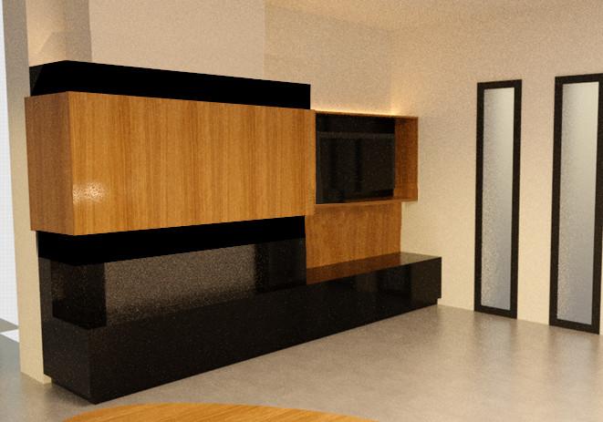 Cheminée gaz, meuble télé, baie fixe, granit noir