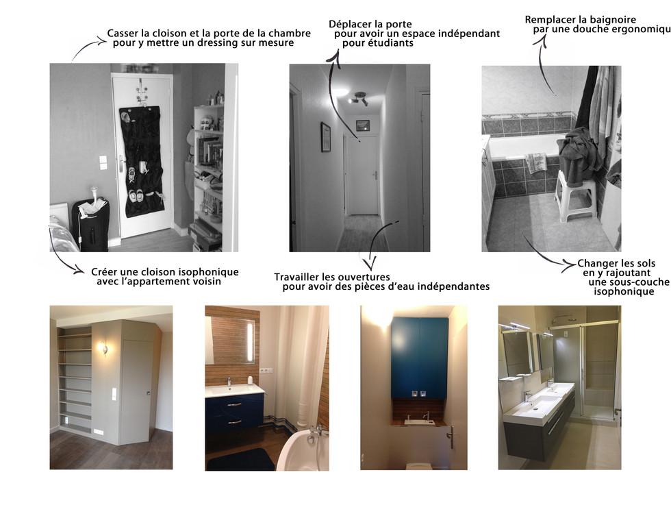 Avant Après - Appartement - Chambre, salle de bain et salle d'eau