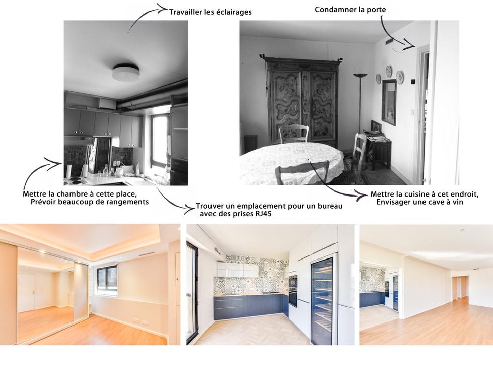 Avant Après - Appartement - Chambre, Cuisine et Séjour