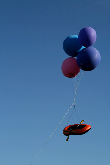 A flying rubber boat